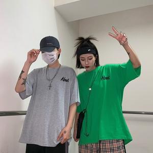 三标齐全~实拍夏季新款韩国复古原宿BF风宽松短袖t恤男女潮情侣