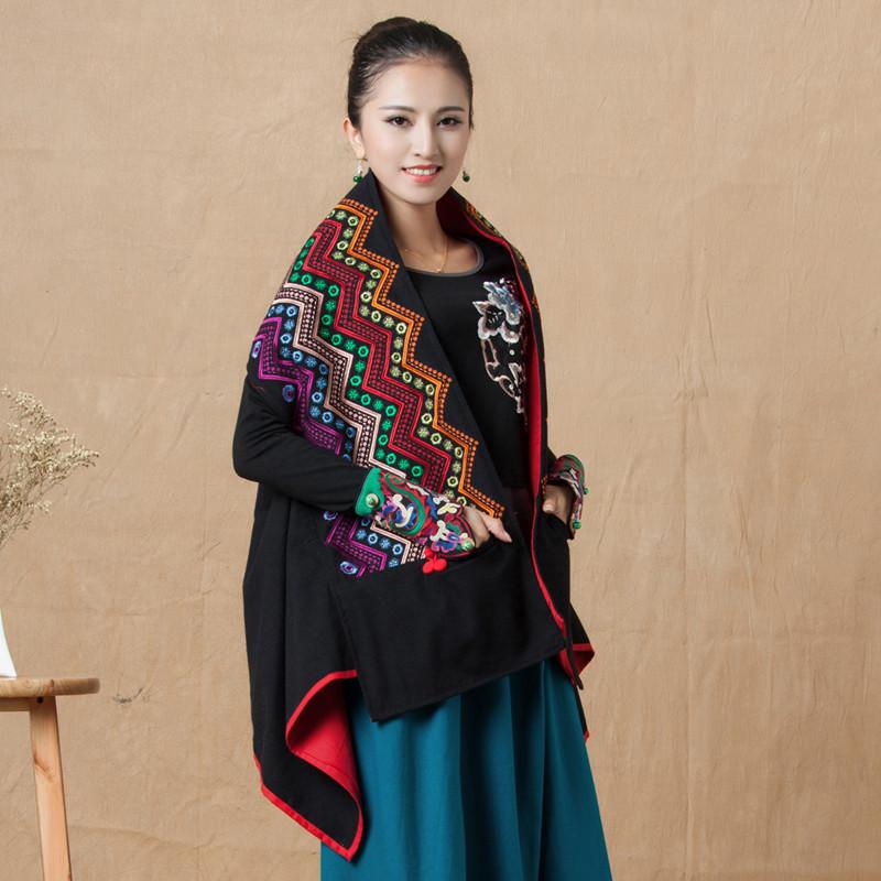 新款女装秋冬民族风原创风衣斗篷坎肩长外套外衣