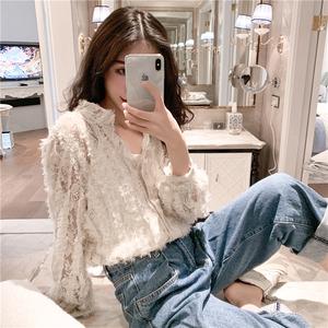 實價實拍 韓版復古流蘇毛須透視蕾絲衫打底衫純色時尚上衣
