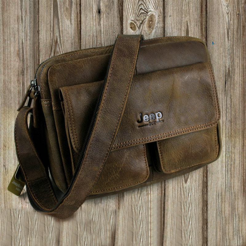Jeep boys original make old Retro Leather Mens backpack frosted head layer Leather Shoulder Bag Messenger