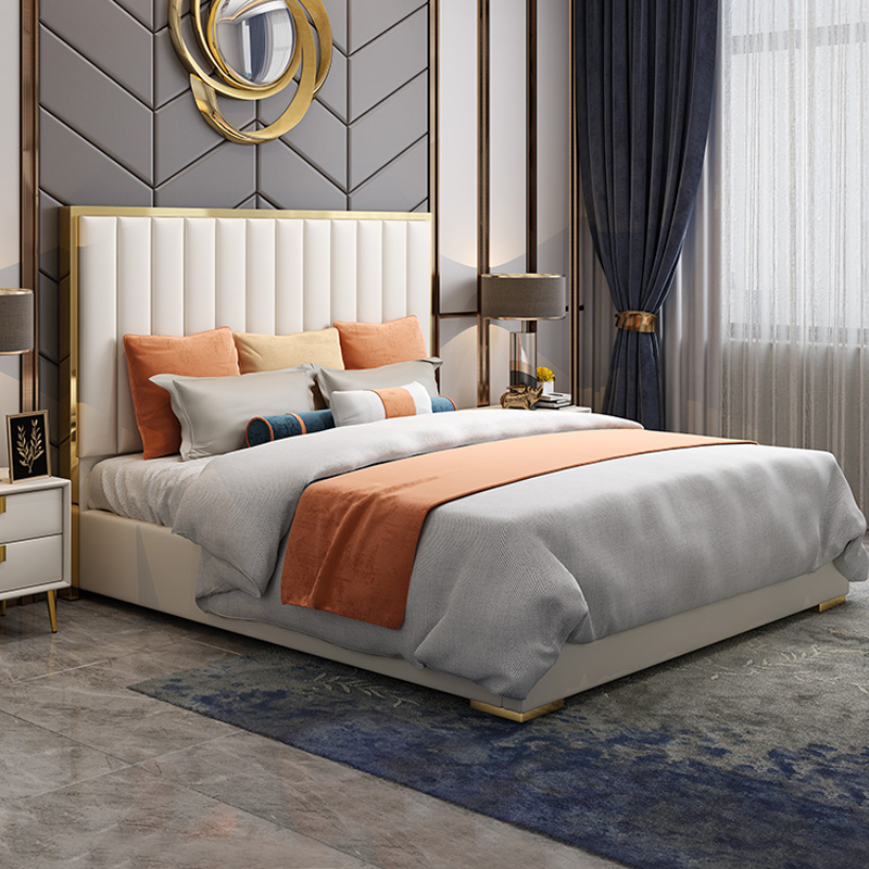 Light luxury wind bed model room American postmodern simple storage 1.8m double master bedroom wedding bed net red leather bed