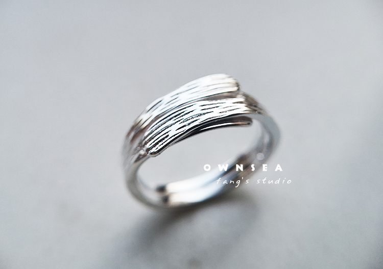 Pure silver creative simple style index finger ring adjustable ring design feeling wide ring