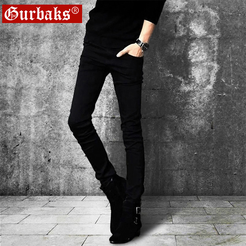 Autumn and winter plus velvet black jeans men's tide brand Korean version of the trend of small feet stretch pants Slim tight casual trousers