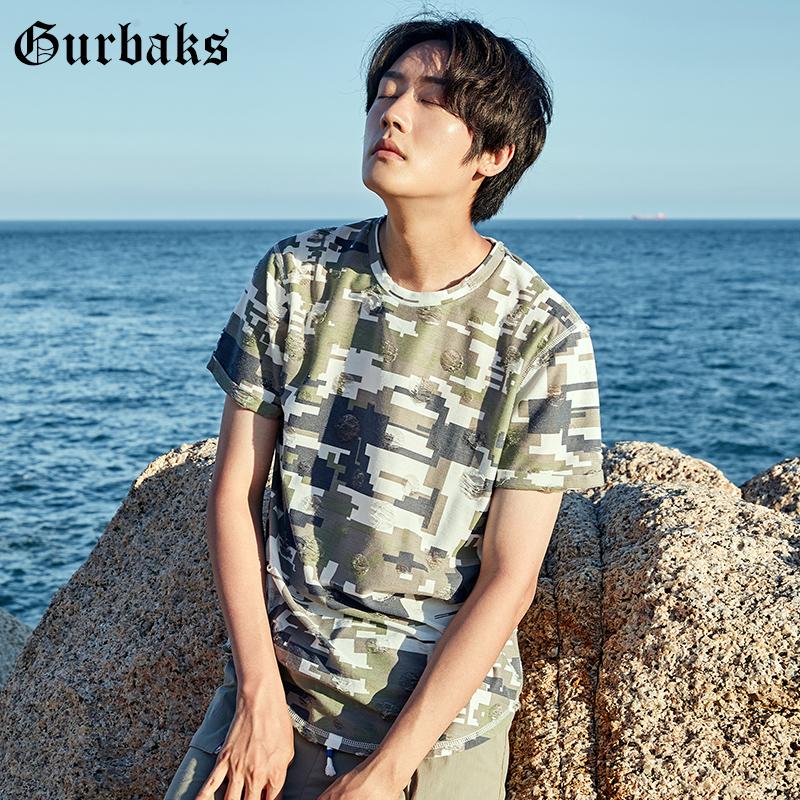 Gurbaks像素迷彩风短袖T恤男夏季圆领修身潮流半袖体恤上衣男