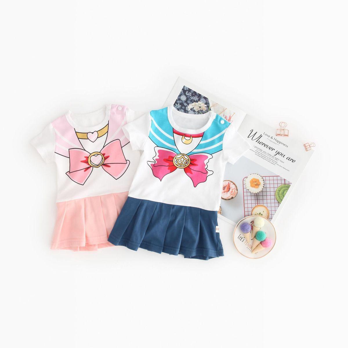 Baby Jumpsuit beautiful girl warrior baby dress pure cotton baby girl skirt ha dress water ice moon Jumpsuit