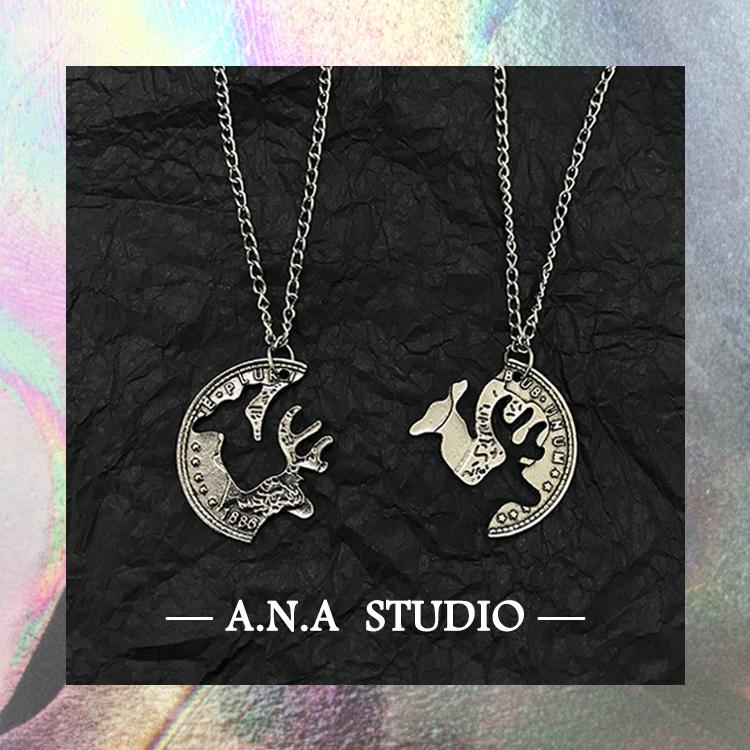 [A.N.A]一鹿有你~一对装复古麋鹿情侣链男女二合一异地恋拼接项链