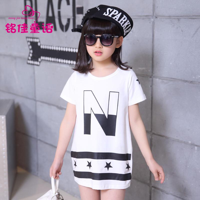 2016 女大童夏裝潮女童 長款女裝上衣兒童衣服 短袖t恤
