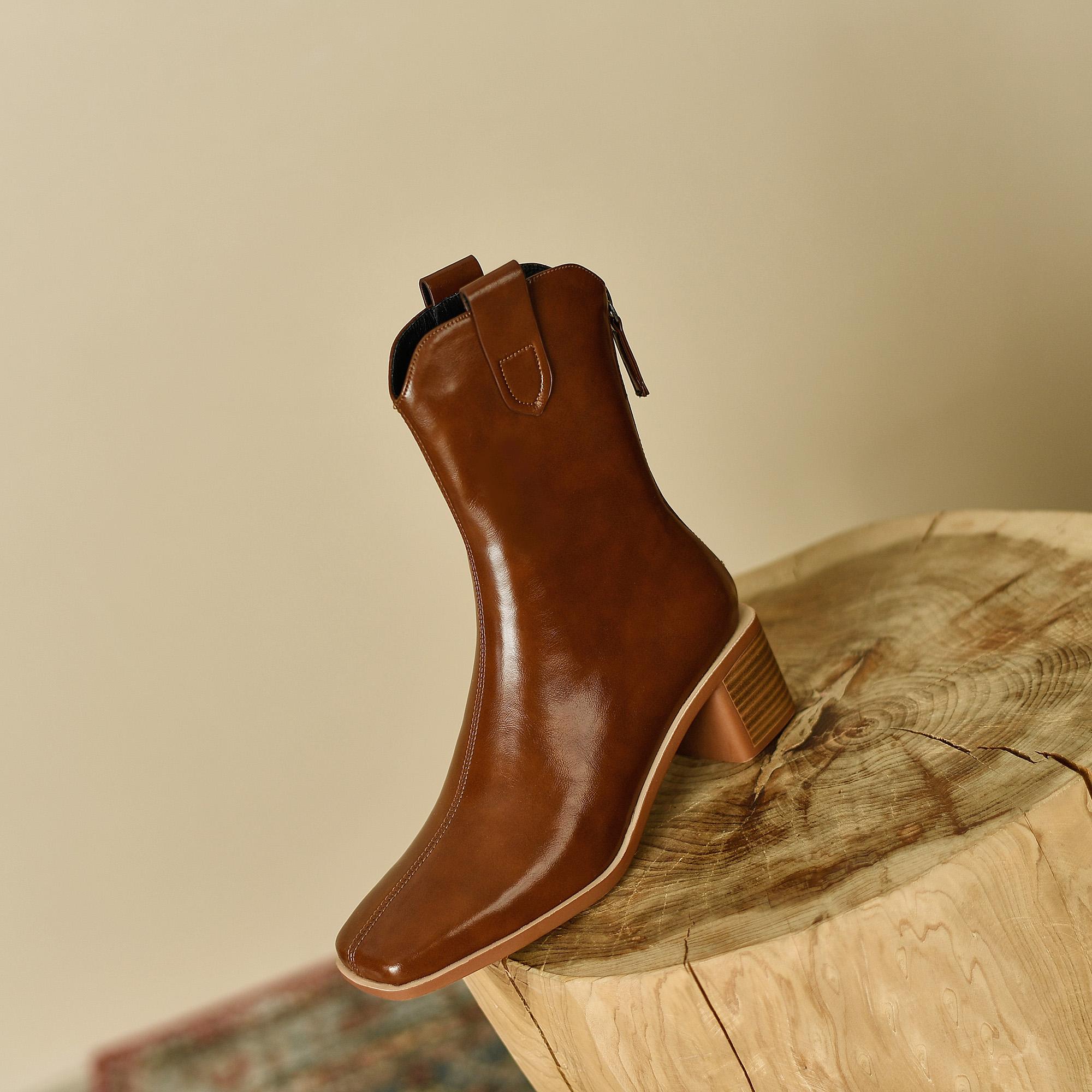 2021冬季新款西部牛仔靴棕色复古粗跟单靴真皮方头短筒靴及裸靴
