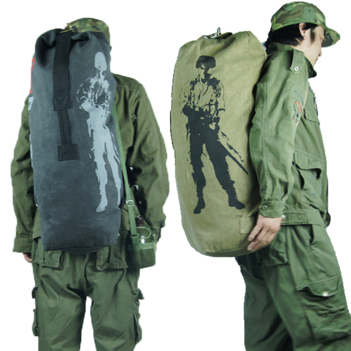 Outdoor large capacity Canvas Backpack handbag fitness bag mountaineering bag Bucket Bag Travel Bag fishing bag