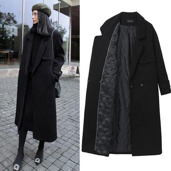 赫本黑色流行呢子大衣女冬2018新款韩版长款过膝修身加厚毛呢外套