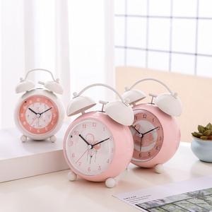儿童静音闹钟学生用高中生个性可爱粉色少女心卧室床头钟夜光台钟