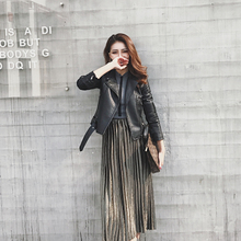 Leather jacket for female students in Spring and Autumn Short Style