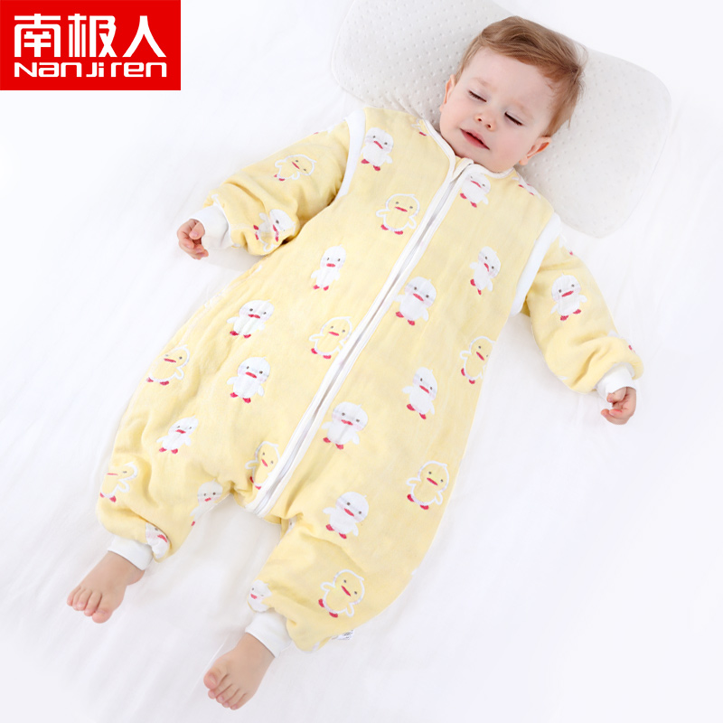 Antarctic childrens pure cotton split leg sleeping bag 6-layer gauze thickened autumn and winter baby pajamas and baby home clothes