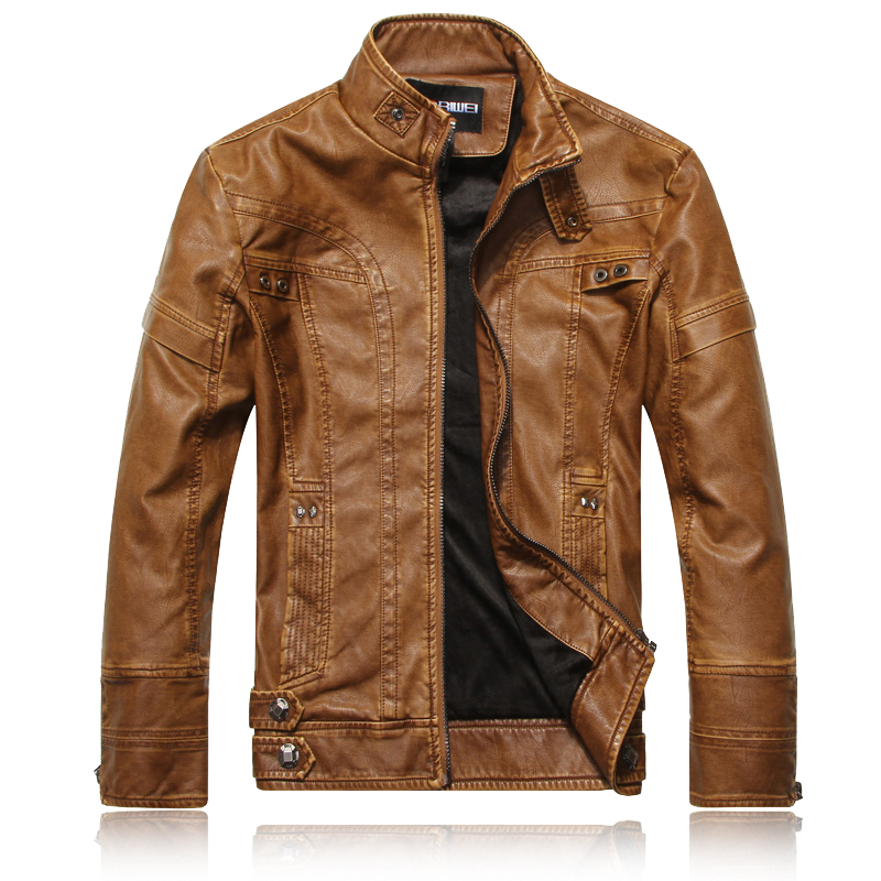 Winter Plush mens slim stand collar leather coat fur one short locomotive PU leather jacket European and American Style Mens coat