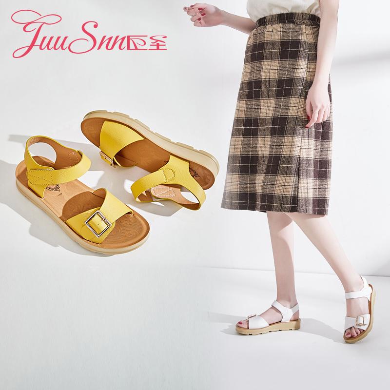 巨圣2019夏季新款凉鞋女韩版平跟沙滩鞋百搭休闲低跟凉鞋学生
