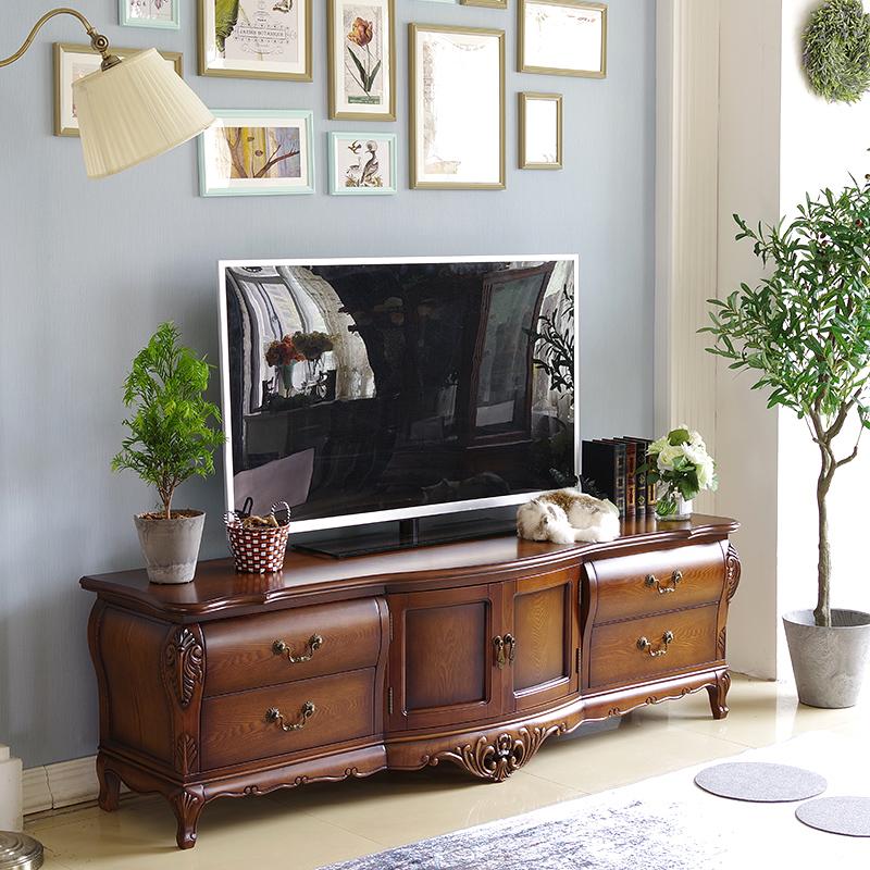 美式家具 欧式实木客厅电视柜 手工雕刻 田园乡村 现代简约
