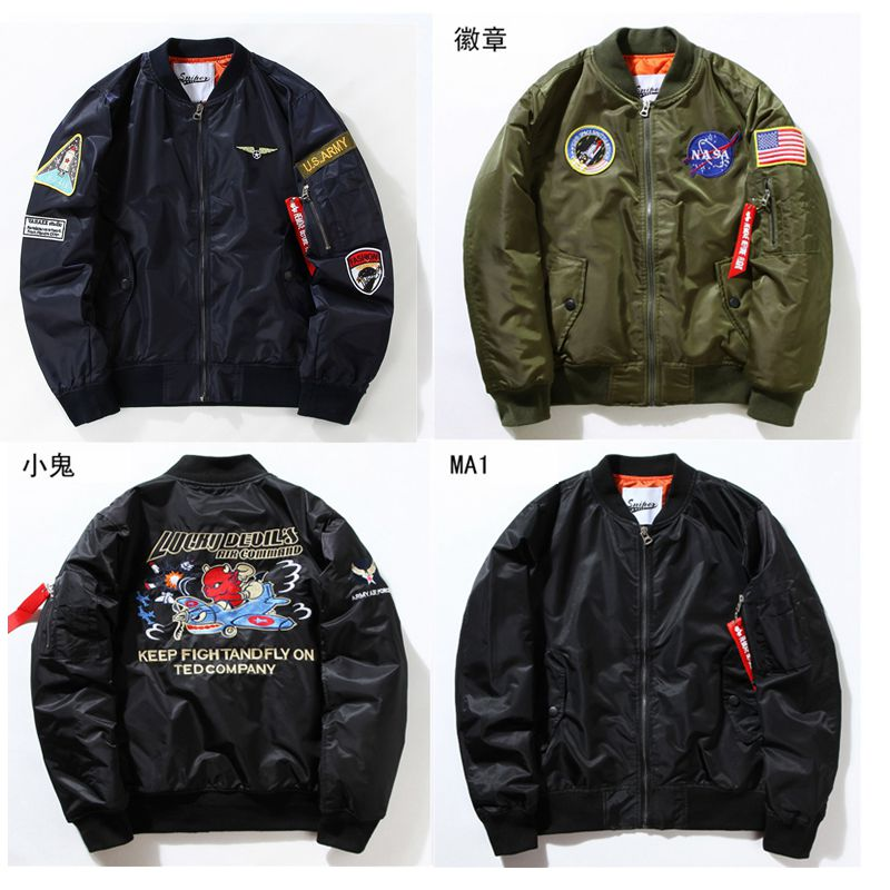 Winter Embroidered Vintage Baseball Jacket MA-1 pilot jacket for men and women fashion brand cotton coat Yu wenle thick coat