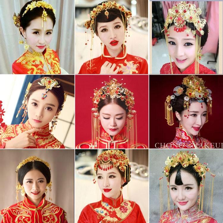 套装新娘古装头饰发饰女配饰唱戏可爱娘娘和服装饰淡雅公主件套