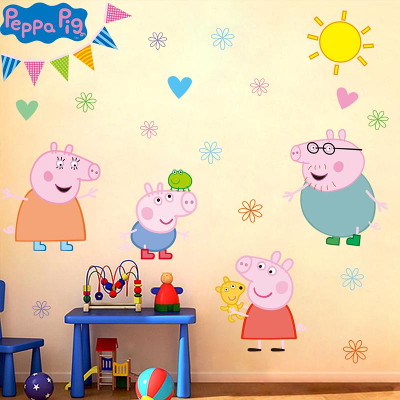 Ребенок спальня мультики наклейки для стен бумага детский сад метоп декоративный ребенок дом свинья носить странный носить самоцвет съемный кроме наклейка