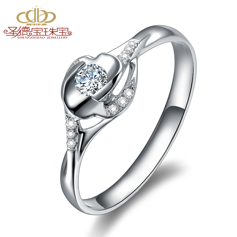 Shengdebao 18K White Gold carat diamond diamond female ring petals around aestheticism series
