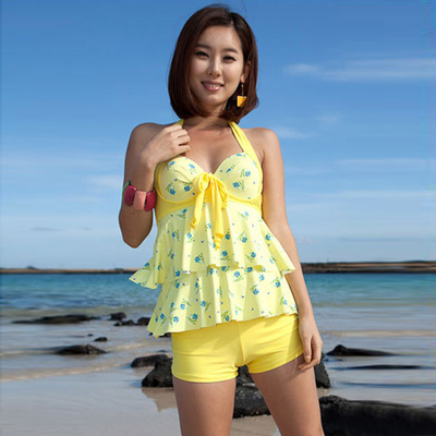 a2fdd6ef75 Three, the new 2014 fission boxer women's bathing suit small broken flower  fresh steel bracket chest together show thin swimsuit