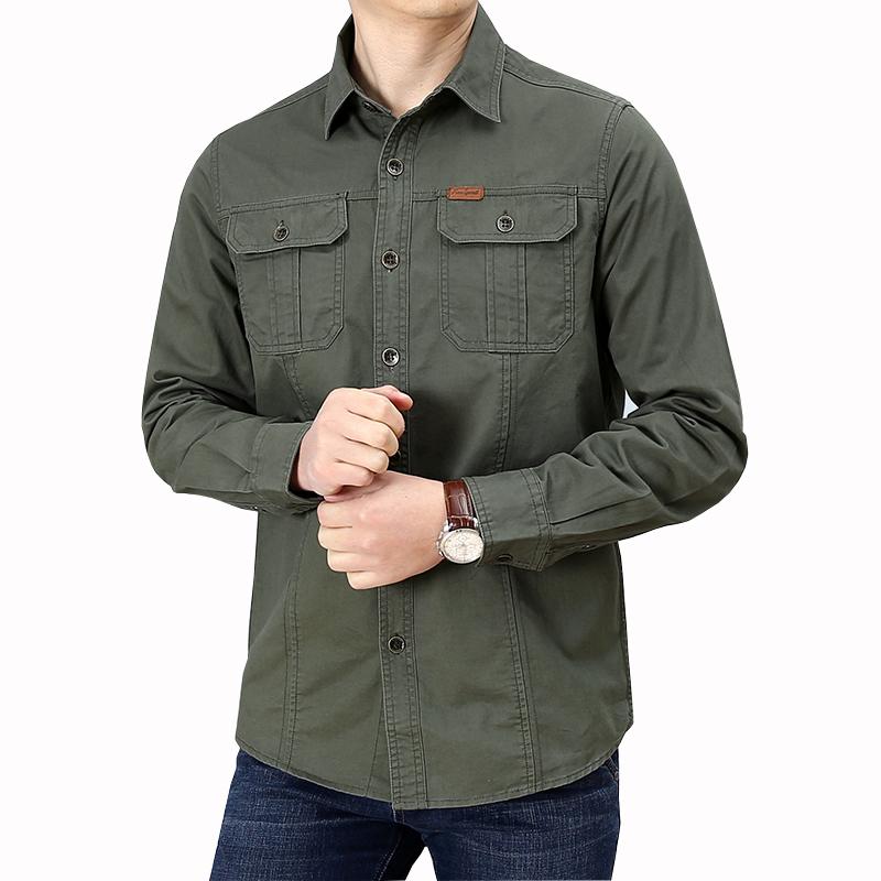 男装春秋季纯棉衬衫长袖男宽松休闲格子衬衣工装多袋上衣男士外套