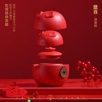 2020鼠年文创礼品创意陶瓷快客杯一壶二杯茶具商务节日礼物礼盒装