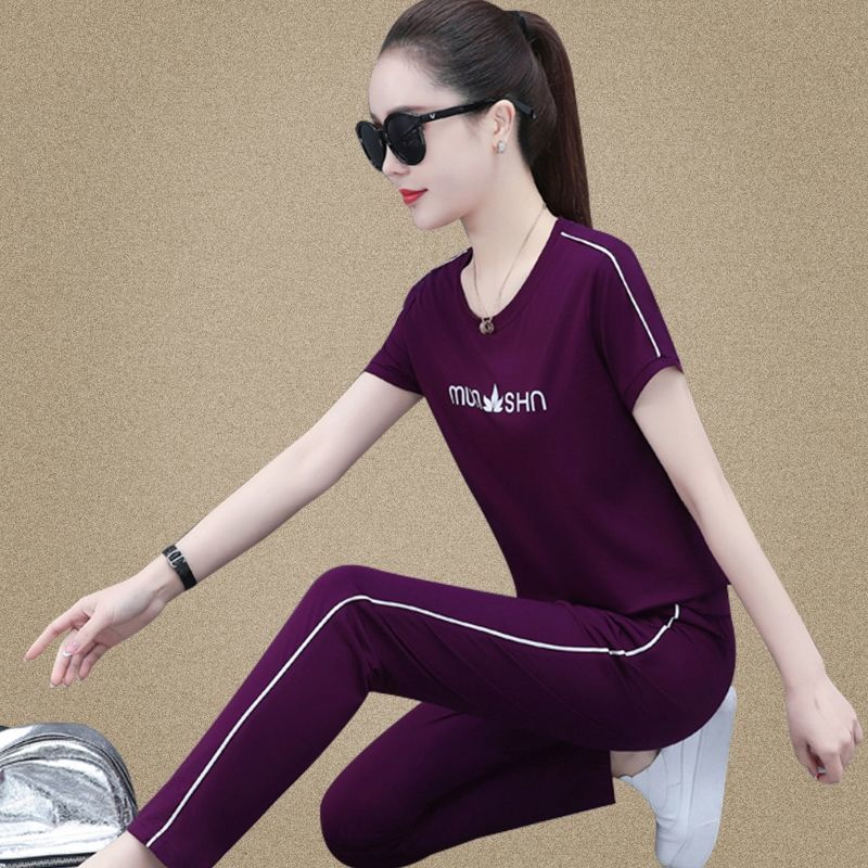 Two piece suit leisure sportswear suit spring and summer new Korean loose short sleeve fashion age reduction two piece suit