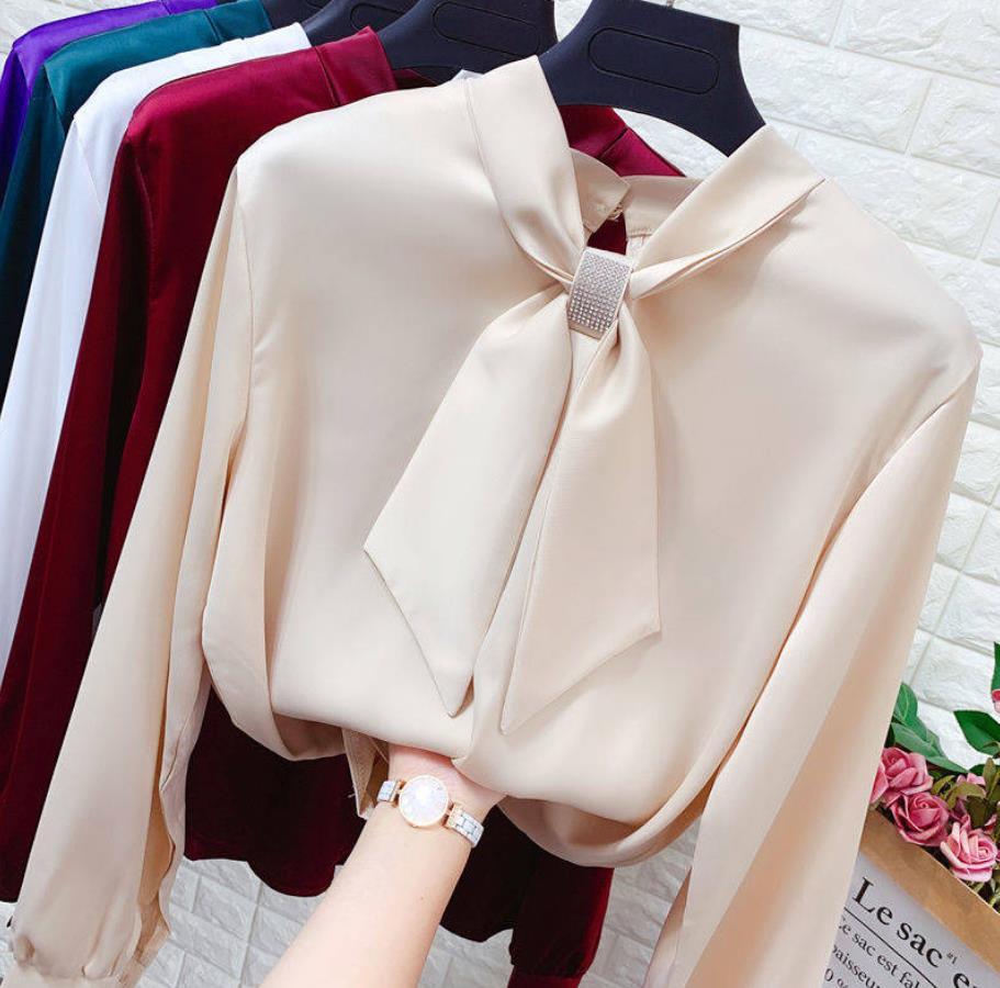 亮钻蝴蝶结系带长袖缎面雪纺衫女春季小领结宽松显瘦打底套头衬衫