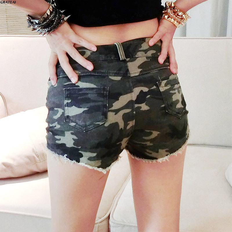 Europe and the United States new super sexy denim camouflage shorts make old straight hot pants wear buttock students casual pants womens summer