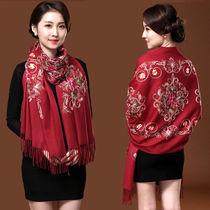 红色刺绣绣花围巾女冬款民族风加厚双面保暖披肩两用秋冬百搭长款