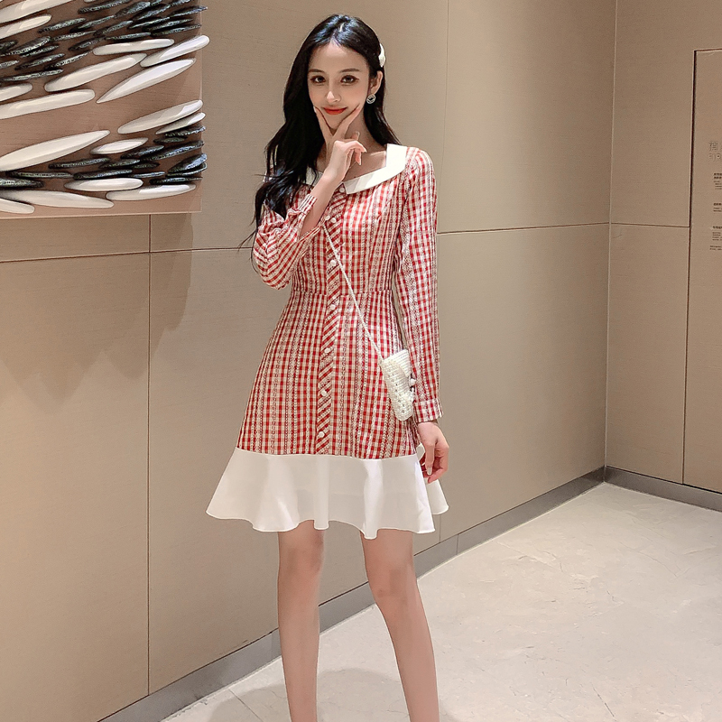 2019新款初秋装长袖格子娃娃领修身小个子轻熟风女装chic连衣裙子券后57.90元