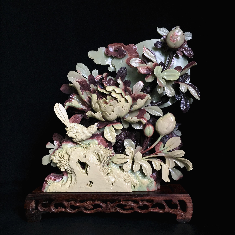 紫袍玉带石中式玄关摆件手工雕刻工艺品家居饰品书房客厅高档礼品