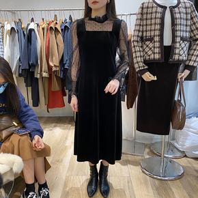 NEW OPEN韩版2020秋冬季新款中长款金丝绒透视波点网纱拼接连衣裙