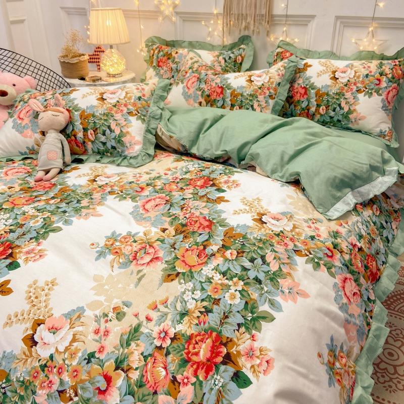 水星家纺韩式ins花边纯棉四件套田园床单被套1.8米全棉床上床笠款