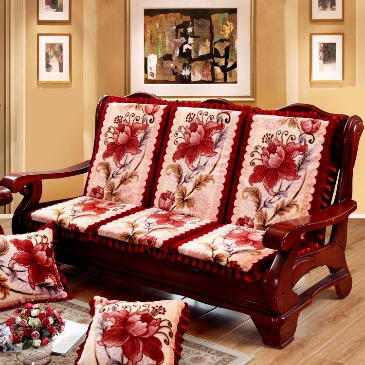 单人座实木防滑加厚海绵红木沙发垫