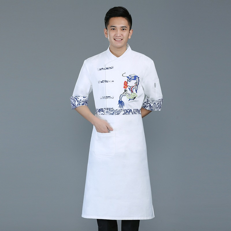 Chinese catering chef work clothes half sleeve summer clothes custom-made lettering breakfast Baker uniform decoration baking tooling