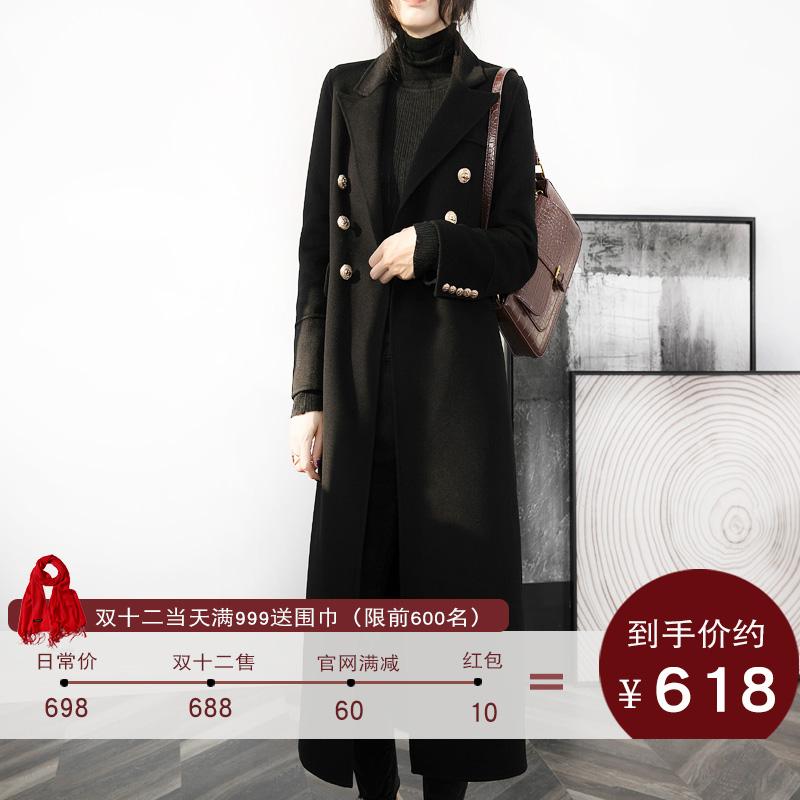 赫本风黑色毛呢大衣女2019年新款双排扣双面羊绒羊毛呢外套中长款