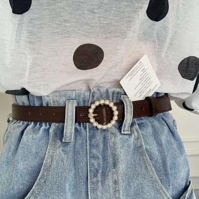 韩国新款圆扣珍珠镶嵌女牛仔裤腰带