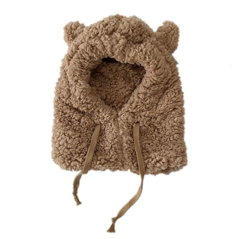 小熊耳朵帽子女秋冬季可爱冬天毛绒围巾一体韩版护耳保暖围脖防寒