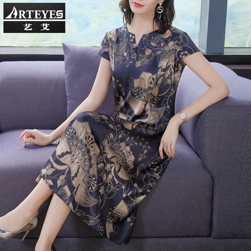 中年大码妈妈杭州高端大牌香云纱桑蚕丝重磅真丝连衣裙2021年新款