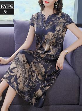 中年妈妈杭州高端大牌香云纱桑蚕丝重磅真丝连衣裙2021年新款夏季