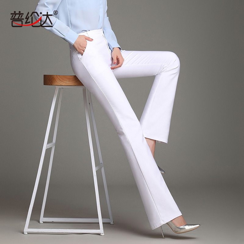 High waisted womens pants spring and summer stretch cotton brocade smooth fabric flared pants pants slim womens pants ol commuter fashion pants