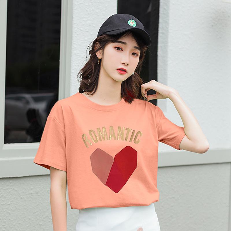 实拍纯棉大码女装2020夏装新款爱心字母印花宽松圆领短袖T恤女潮