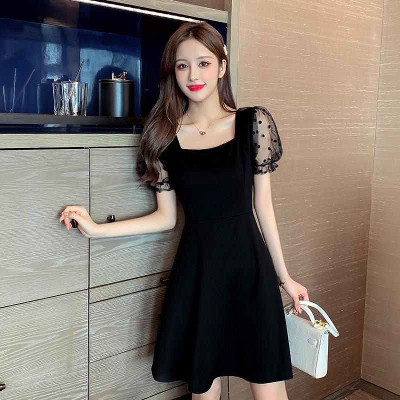 实拍2020新款夏装赫本风收腰显瘦网纱拼接黑色连衣裙女