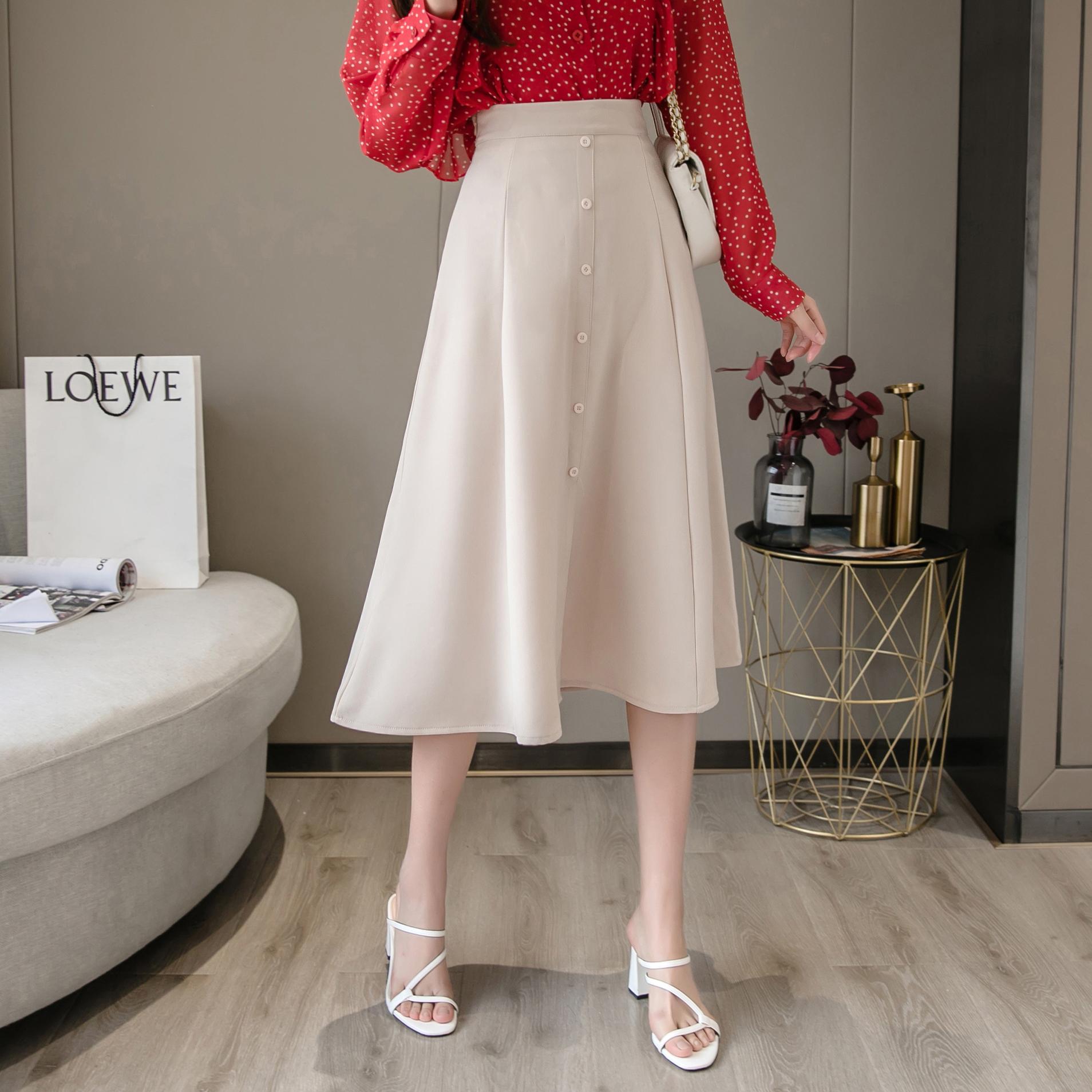 中长款裙子2021春装新款百搭高腰大摆适合胯大腿粗的半身裙子女