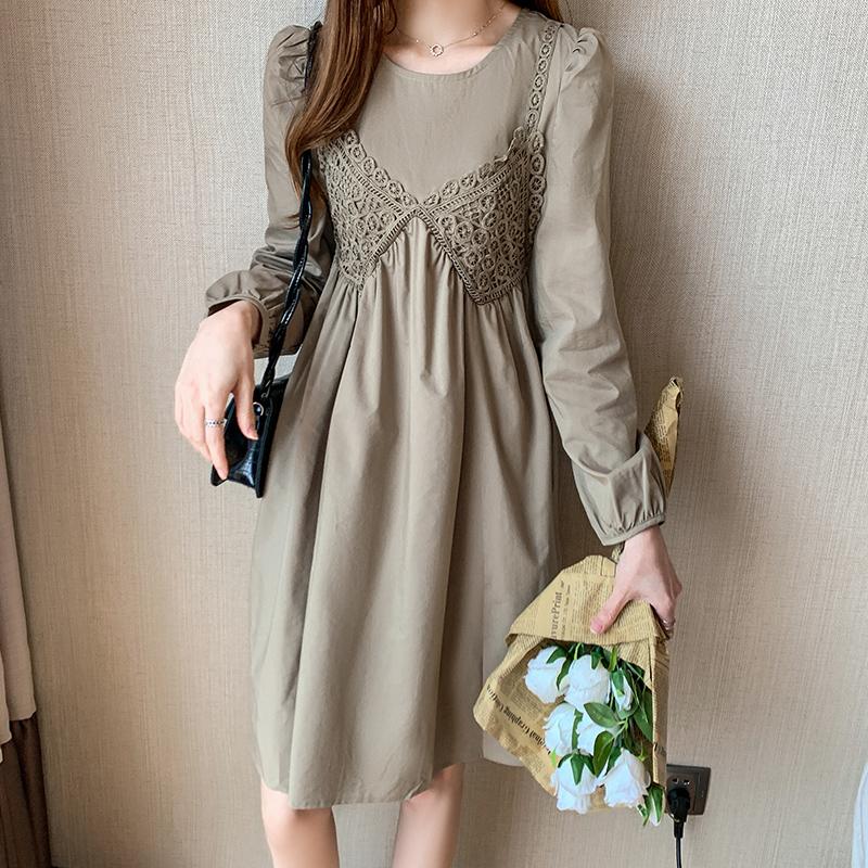 实拍2020秋冬新款韩版百搭长袖圆领打底连衣裙女中裙时髦裙子P69