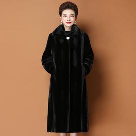 秋冬新款整貂海宁皮草女进口天鹅绒外套中老年长款水貂毛貂皮大衣
