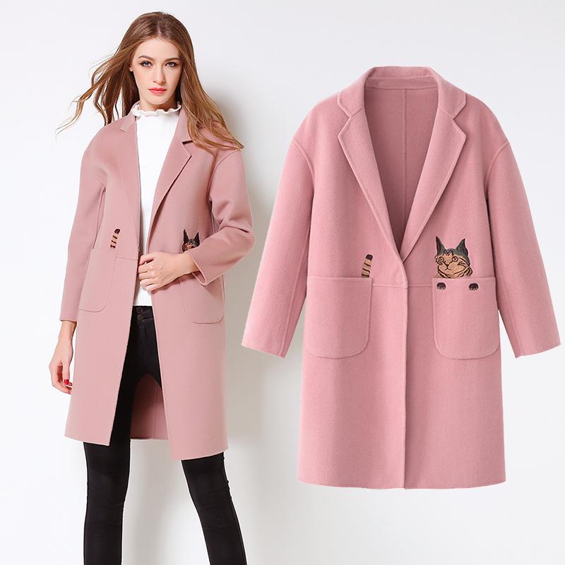 反季清仓双面呢双面女外套羊绒大衣