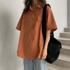 日系原宿港味复古衬衫短袖法式上衣女装大码胖mm外穿学生院风工装